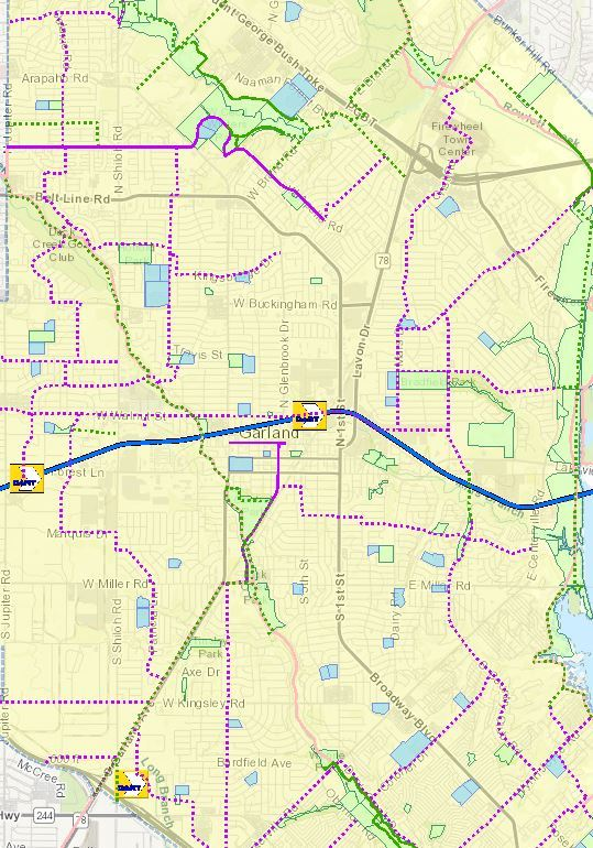 Example Interactive Trails Map of Garland with trails labeled