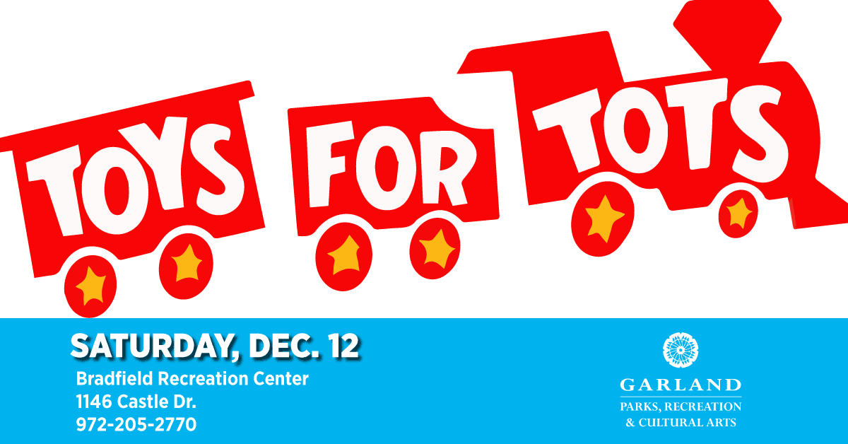 Cover photo for Toys for Tots with train figure