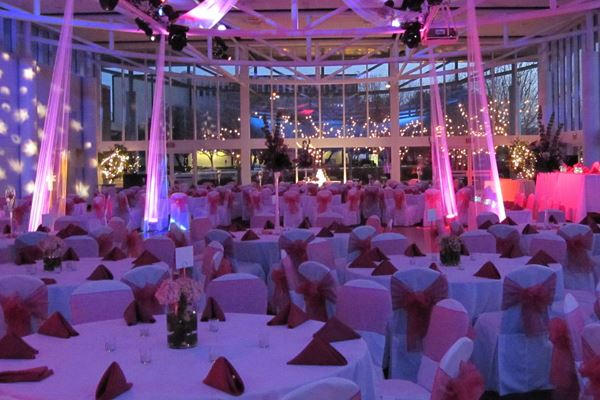 Atrium Decorated for a Wedding Reception