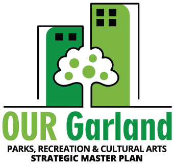 Green buildings with a tree in the middle, Our Garland Parks, Recreation, and Cultural Arts Strategic Master Plan