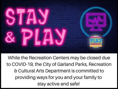 Parks and Recreation Stay and Play blue brick wall with hot pink lettering